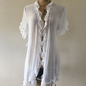 In Bloom by Jonquil white semi sheer robe